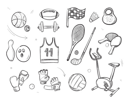 Hand drawn sketch sports fitness equipment vector doodle icons. Sketch of sport and fitness equipment, ball for game and weight for sport gym illustration Illustration