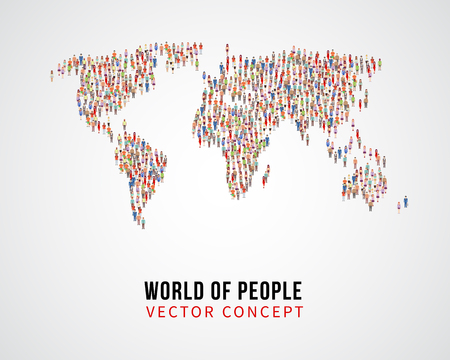 populate: People global connection, earth population on world map vector concept. Global population on planet, population of people on form world map illustration