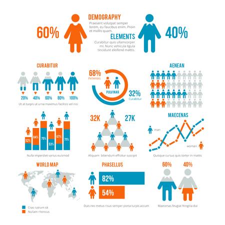 비즈니스 통계 그래프, 인구 통계 인구 차트, 사람들이 현대 infographic 벡터 요소. 인구 통계 학적 인포메이션, 그림 인구 통계 그래프 및 차트에 대한 요