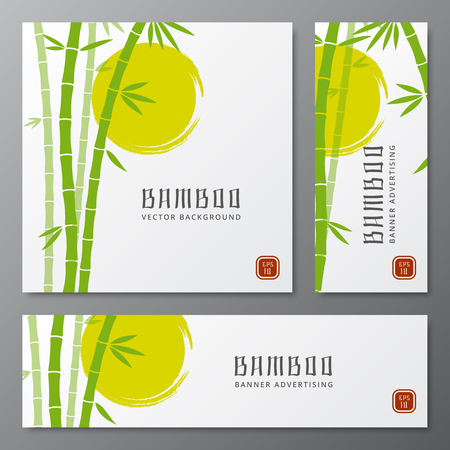 Asian bambu threes cards or japanese bamboo banners vector illustration. Asian plants on card, template of chinese traditional plant  イラスト・ベクター素材