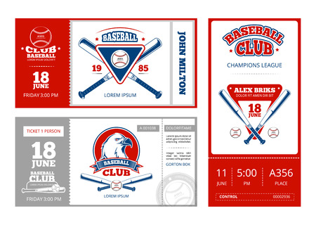 collection of eight vector sport tickets templates in colorful