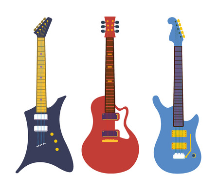 Vintage bass electric rock guitars, string instruments flat vector set. Collection of rock guitars, illustration of electric equipment musical guitar