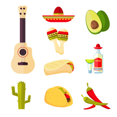 Mexican cuisine cartoon vegetables, food and drinks vector stock menu icons. Mexican traditional cuisine, illustration of mexican drink tequila and chili pepper