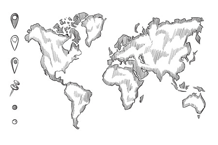 Hand Drawn, Rough Sketch World Map With Doodle Pins, Sketch World ...