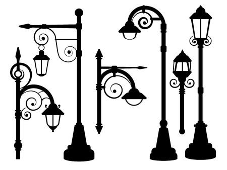 Street lamp, road lights vector silhouettes. Street urban lamp, illustration of post with lamp lantern