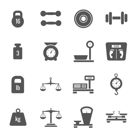 heavy weight: Weight scales, balance, heavy luggage, kilogram vector icons. Set of scales and weight, illustration of monochrome scale Illustration
