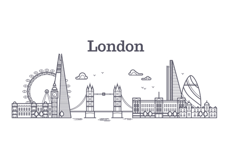 London city skyline with famous buildings, tourism england landmarks outline vector illustration. Line london panorama building, skyline architecture city of london