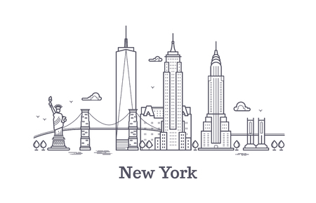 New York city outline skyline, nyc line silhouette, usa tourist and travel vector concept. New York architecture urban illustration