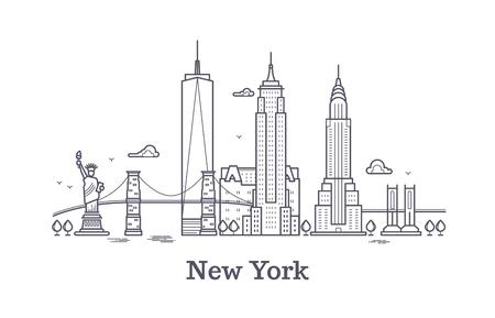 ニューヨーク市は、アメリカ観光、ニューヨーク ライン シルエット スカイラインの概要し、ベクトルの概念を旅行します。ニューヨーク建築都市