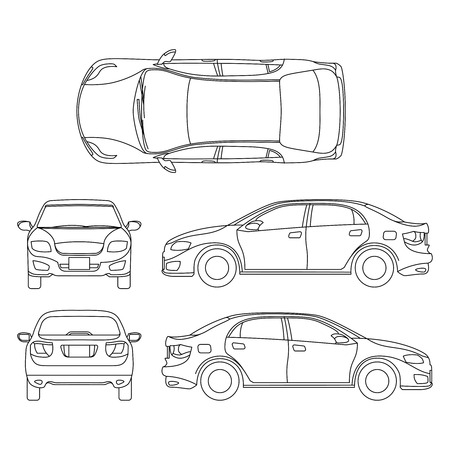 Outline sedan car vector drawing in different point of view. Scheme sedan auto, illustration of documentation project car sedan