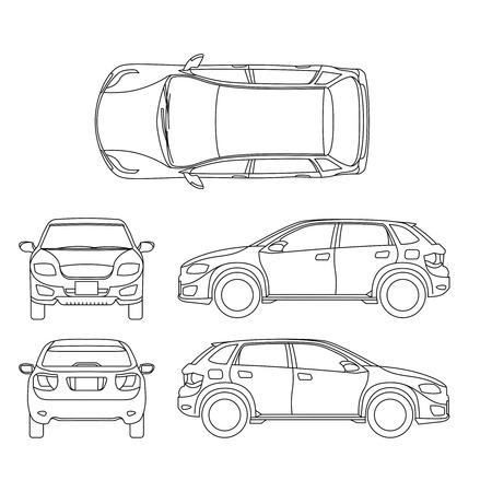 Offroad Suv Auto Outline Vector Vehicle. Car Model Suv, Illustration ...