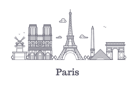 French architecture, paris panorama city skyline vector outline illustration. Paris linear architecture, famous paris place