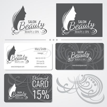 Beauty salon vector business card templates with beautiful woman beauty salon vector business card templates with beautiful woman face silhouette logo illustration of card wajeb Gallery