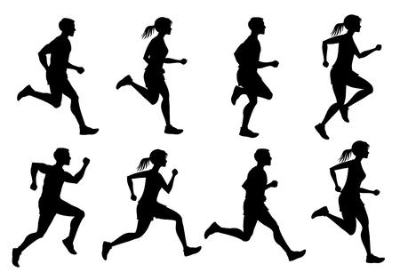 En cours de course masculine et féminine, jogging people vector silhouettes. Le sport court la silhouette des personnes, l'illustration court et le jogging des gens Vecteurs