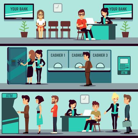 Bank kantoor interieur met mensen, klanten en bank kleren vector flat banking concept. Bank kantoor financiën met kassier en advies, bank interieur illustratie