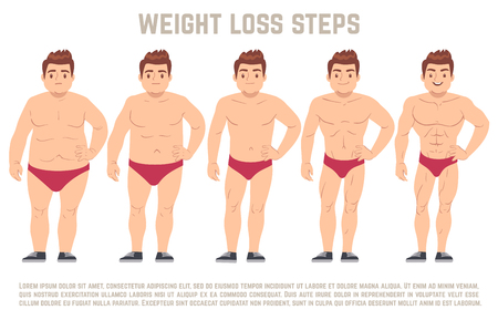 muscular control: Male before and after diet, man body from fat to thin. weight loss steps vector illustration. Body male health and slim, adult man with fat body