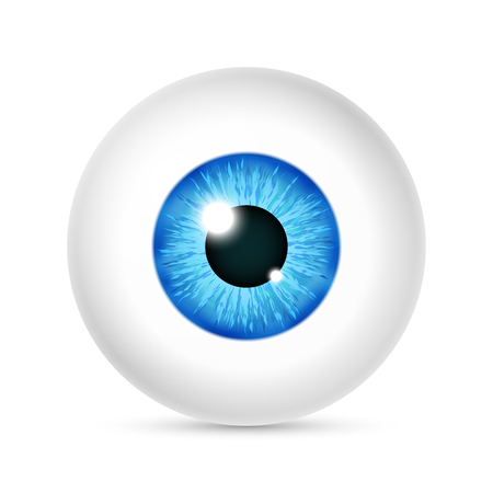 Vector realistic human eyeball. Eye with bright blue, illustration of eye ball isolated on white background Ilustrace