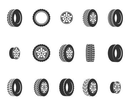 tire cover: Tires, wheel disks auto service vector icons. Auto black wheel, illustration of automobile rubber wheel Illustration