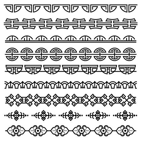 Chinese decoration, traditional antique korean pattern, vector asian seamless borders set. Korean border pattern, illustration of traditional oriental japanese pattern Stock Illustratie