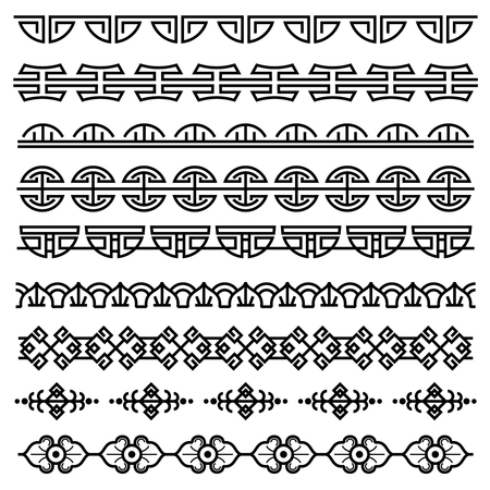 Chinese decoration, traditional antique korean pattern, vector asian seamless borders set. Korean border pattern, illustration of traditional oriental japanese pattern Ilustração