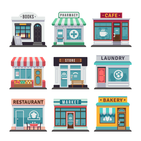 Modern fast food restaurant and shop buildings, store facades, boutiques with showcase flat icons. Exterior market and restaurant, illustration of exterior facade store building 일러스트