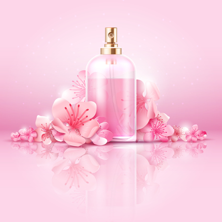 Concept de soins cosmétiques pour la peau. Cosmétiques avec de la vitamine et du collagène en bouteille et fleurs sakura. Soins cosmétiques de la peau naturelle, illustration du traitement cosmétique du collagène