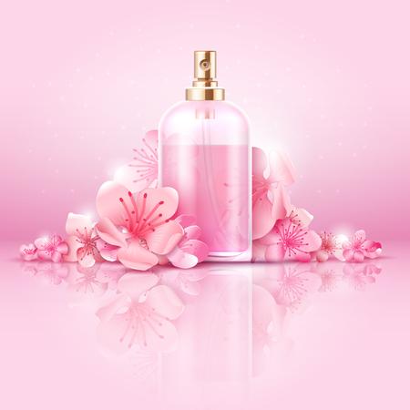Cuidado de la piel vector concepto cosmético. cosmético con vitamina y colágeno en botella y flores de sakura. Cosméticos naturales cuidado de la piel, la ilustración de colágeno tratamiento cosmético