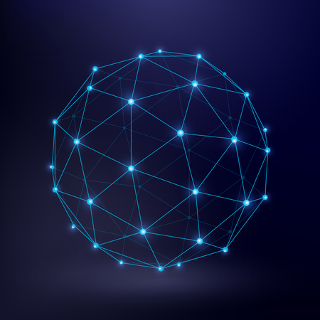 Futuristic technology vector background with wireframe connection circle graphic. Connect sphere frame, illustration of sphere wireframe Illustration
