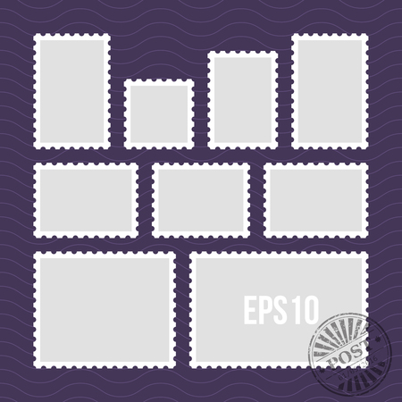 philately: Postage stamps with perforated edge and mail stamp vector template. Set of postal stamp frame, illustration of stamp for mail Illustration