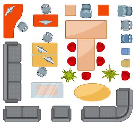 Vista superior interior iconos de muebles iconos vectoriales plana. Proyección arquitectura floorplan oficina, ilustración de oficina dibujo interior