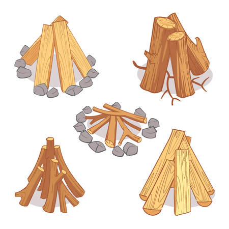 rings on a tree cut: Wood stacks and hardwood firewood, wooden logs cartoon vector set. Timber for firewood, illustration of hardwood timber log