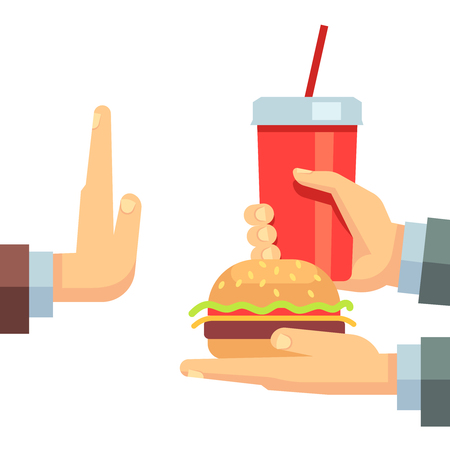 refusing: Stop fast food junk snacks vector concept with refusing hand. Fast food and soda beverage, illustration of fast food breakfast Illustration