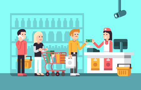 mujer en el supermercado: Super mercado, centro comercial interior con la gente, vendedor y tienda de pantalla plana ilustración vectorial. Supermercado con comprador, contador y comprador en el mercado Vectores