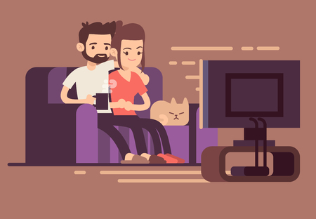 couple on couch: Relaxed happy young couple watching tv at home in living room. Couple woman and man on sofa with cat, illustration of young couple watch tv Illustration