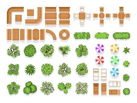 Vista superior de paisajismo arquitectura de la ciudad del parque de símbolos del vector de plan, bancos de madera y árboles. De madera moderna sesión y mesa para el diseño, ilustración de la ciudad de estructura natural y creativa paraguas y árbol