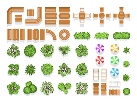 Vue d'ensemble aménagement paysager architecture parc urbain plan symboles vectoriels, bancs en bois et arbres. Assise et table en bois moderne pour le design, illustration de la structure naturelle créative parapluies et arbres de la ville