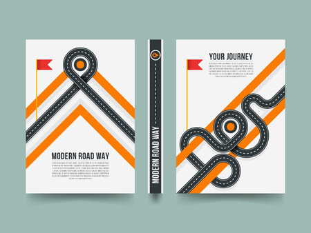 Modern paving street, 3d road path vector template design. Banner with modern road way, illustration of poster road