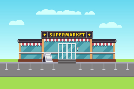 Supermarket building, shopping market, mall vector illustration. Big market building, illustration of commercial store market