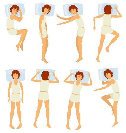 Woman sleeping postures, relaxing female sleep in different poses in bedroom - vector set. Various posture sleep in bedroom, illustration of woman sleep in bed 일러스트