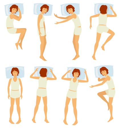 Woman sleeping postures, relaxing female sleep in different poses in bedroom - vector set. Various posture sleep in bedroom, illustration of woman sleep in bed Illustration