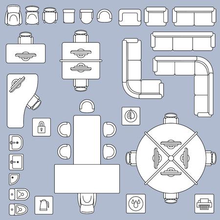 Office vergadering meubels, het platform plan vector lijn pictogrammen. Het bureaulijst en stoel van het meubilair, illustratie van binnenlands ontwerpbureau