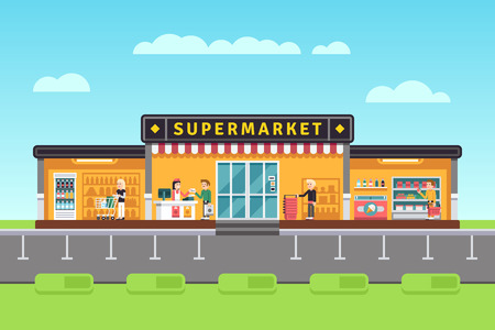 Supermarket, store, hypermarket building with shopping people and seller assistants vector illustration. Supermarket with assortment merchandise Vectores