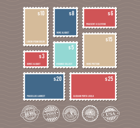 perforated: Blank postage stamps in different sizes and vintage postmarks vector. Set of color stamps with price, illustration of rectangular stamp