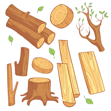 Cartoon wooden materials, lumber, firewood, wood stump vector set. Wooden material for firewood, illustration illustration of natural log wood