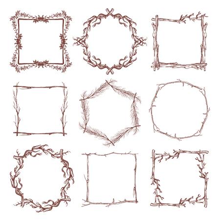 Vintage rustic branch frame borders, hand drawn vector set. Branch dry frame design, illustration of botanical frame pattern from branch