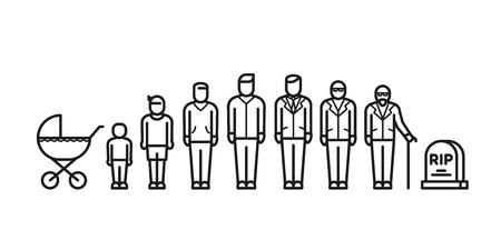 De la niñez a través del adulto a la edad avanzada, todos los iconos del vector de la edad. Generación adolescente y adulto, ilustración del proceso de desarrollo de la generación