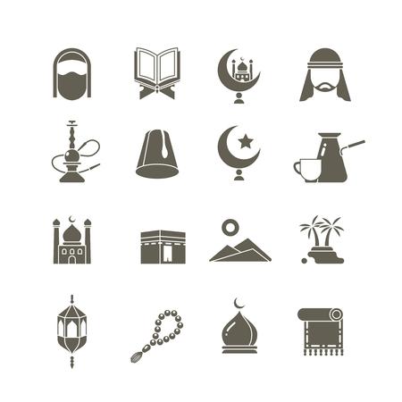 穆斯林伊斯兰中东宗教矢量图标。斋月kareem象形图。东方传统宗教,阿拉伯传统宗教的例证