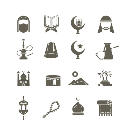 Muslim islamic middle east religion vector icons. Ramadan kareem pictograms. Traditional religious eastern, illustration of tradition religion arab Illustration