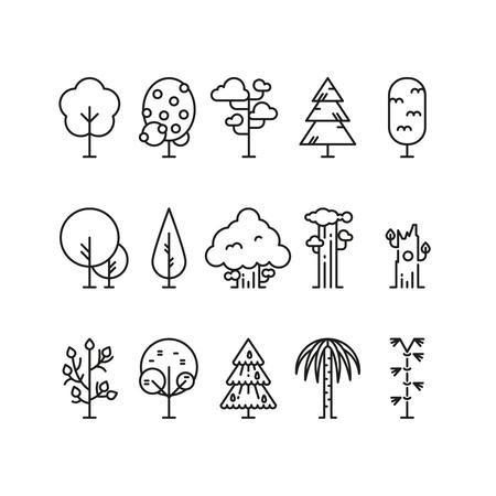 Primitive simple contour line trees. Nature plants symbols. Linear tree plant, illustration of natural linear forest tree