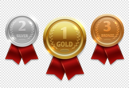 Champion gold, silver and bronze award medals with red ribbons. Medal gold award, illustration achievement medals Stock Photo